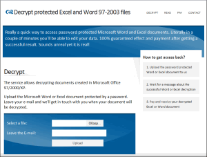 AccessBack - instant decryption service for locked Excel and Word 97-2003 documents. Uses a rainbow tables technology