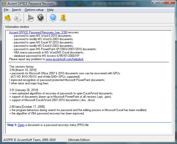 OpenOffice Password Recovery Screenshot