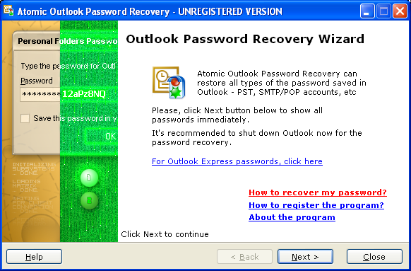 Atomic Outlook Password Recovery Screenshot