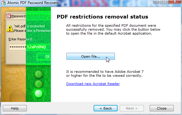 PDF password recovery Screenshot