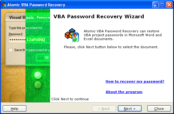 VBA password recovery Screenshot