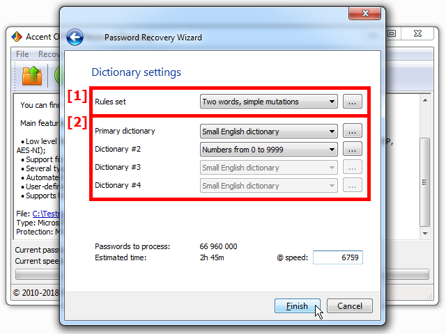 Dictionary attack settings in Passcovery apps
