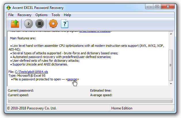 Instant recovery of Excel 6-95 passwords